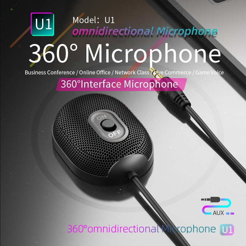U1 ميكروفون متعدد الاتجاهات AUX 3.5 مللي متر ميكروفون المهنية 360 درجة الصوت التقاط اجتماع مؤتمر ميكروفون للهاتف PC