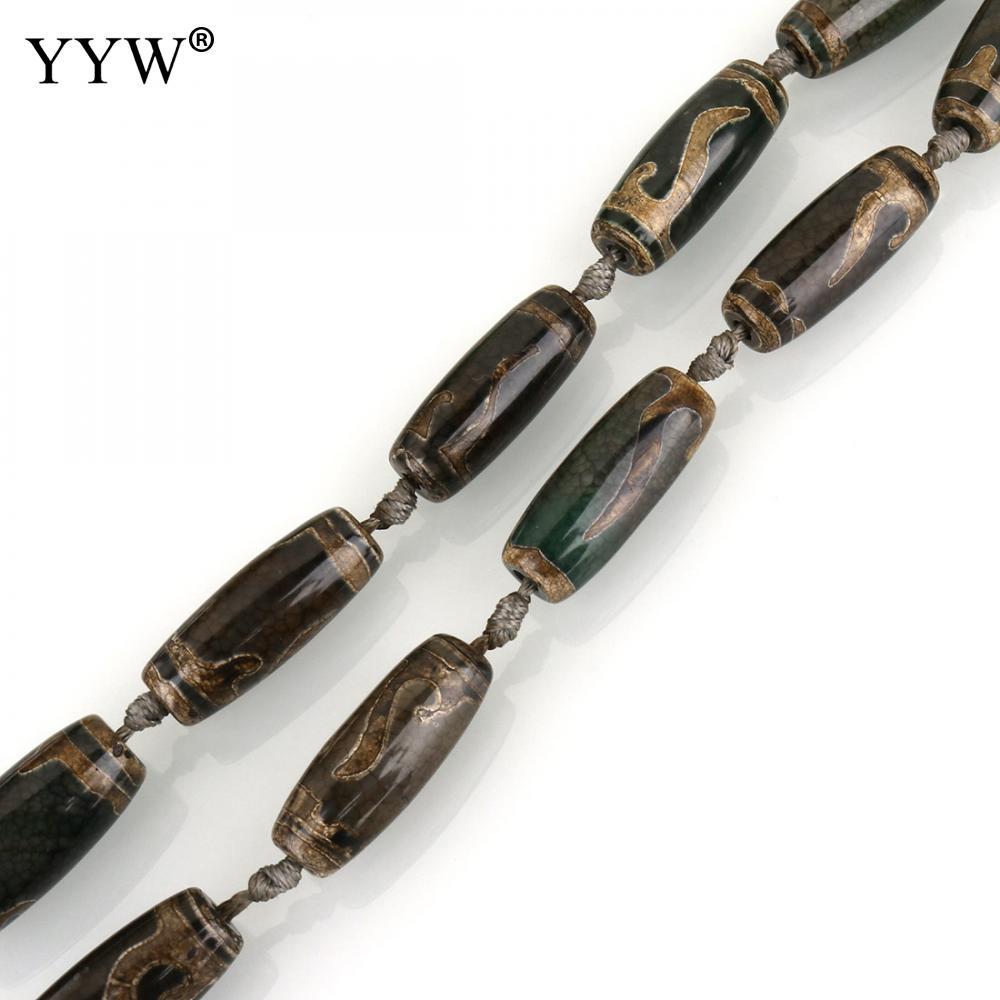 10 Uds./hilo Natural ágatas tibetanas ónice Dzi cuentas Vintage para hacer joyas colores mixtos 30-31x12-13x12-13mm