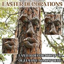 bark face tree monster facial features ornaments creative props Bark Ghost Face Facial Features Deco