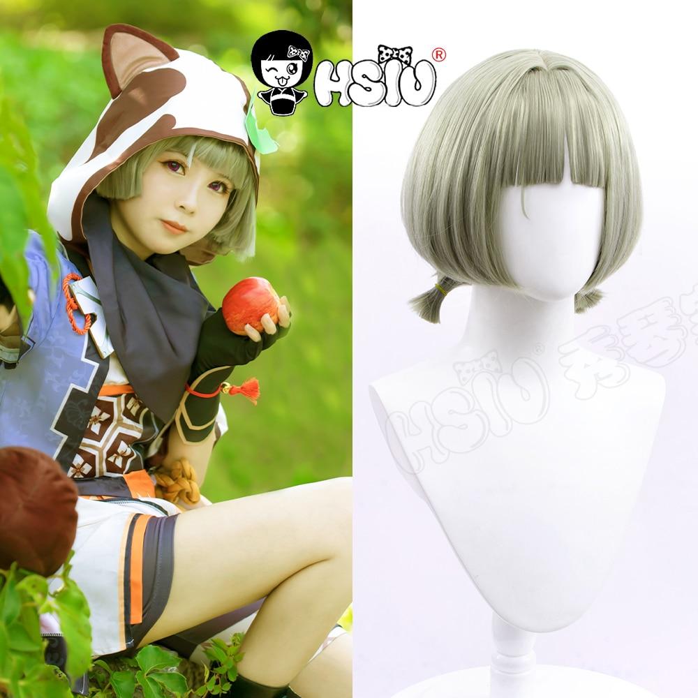 Sayu cosplay wig Genshin Impact cosplay HSIU Celadon Little Double Ponytail Short Hair Genshin Impac