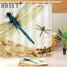 Beau rideau de douche insecte motif libellule volant imperméable multi-taille Douchegordijn décor de salle de bain avec 12 crochets