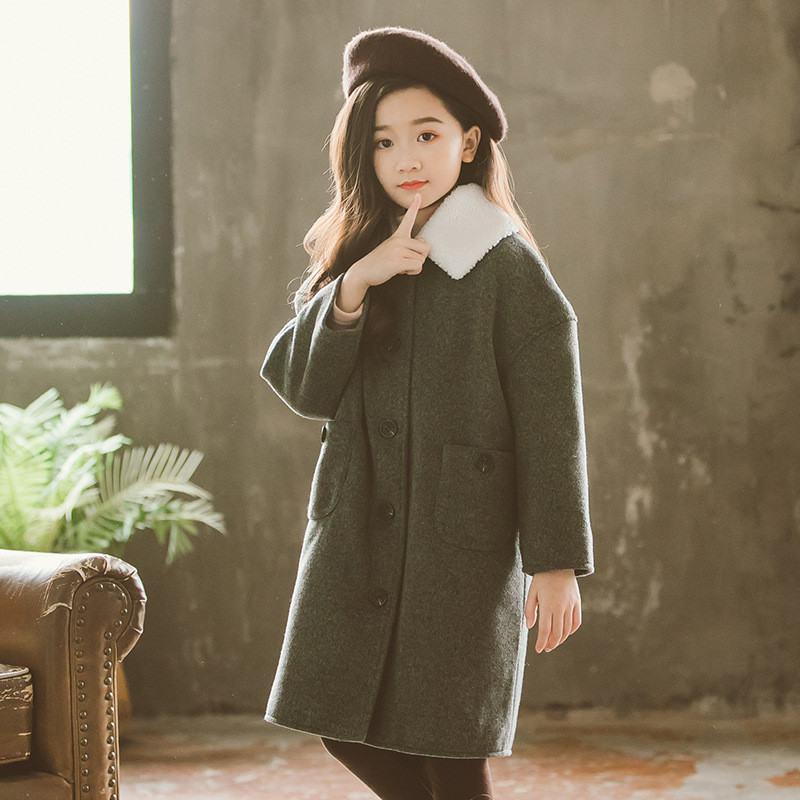 2020 Autumn Winter Korean Teenage Girls Slim Thick Wool Blends Coats Overcoat Children's Girl Trench Woolen Jackets Outwear W40 enlarge