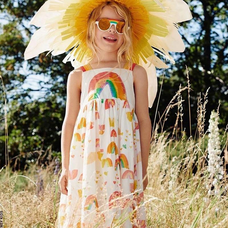 Arco-íris verão crianças vestidos nova criança menina moda roupas elegantes bebê sem mangas pequena sereia padrão de flor sling vestido