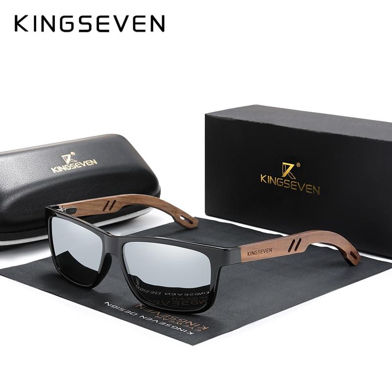 KINGSEVEN-Gafas De sol polarizadas De madera para hombre y mujer, lentes De...