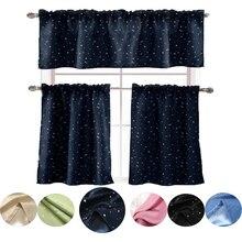 Argent étoile court rideaux occultants pour salon enfants chambre occultant Cortinas aveugle pour fenêtre de cuisine cantonnière rideau