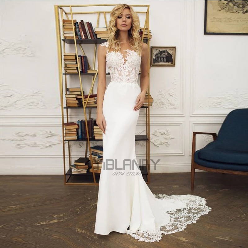 YILIBER-فستان زفاف بتصميم حورية البحر ، فستان زفاف بسيط ، ياقة على شكل v ، بلا أكمام ، دانتيل ، أزرار شيفون ، فساتين زفاف جميلة