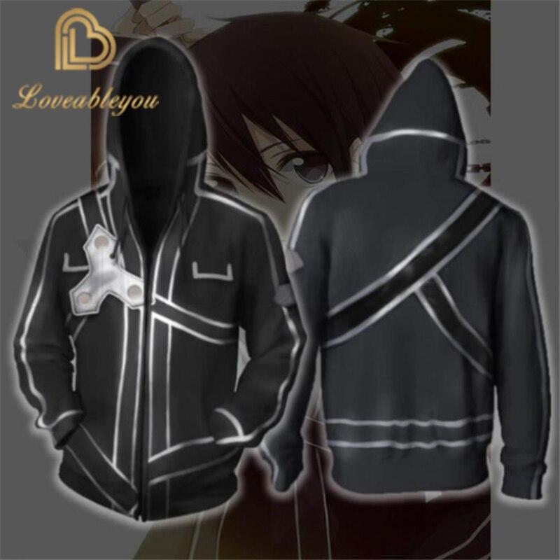 Anime Sword Art Online Hoodie hombres y mujeres cremallera Hoodies Asuna 3d imprimir chaqueta con capucha para niños Harajuku Streetwear Cosplay