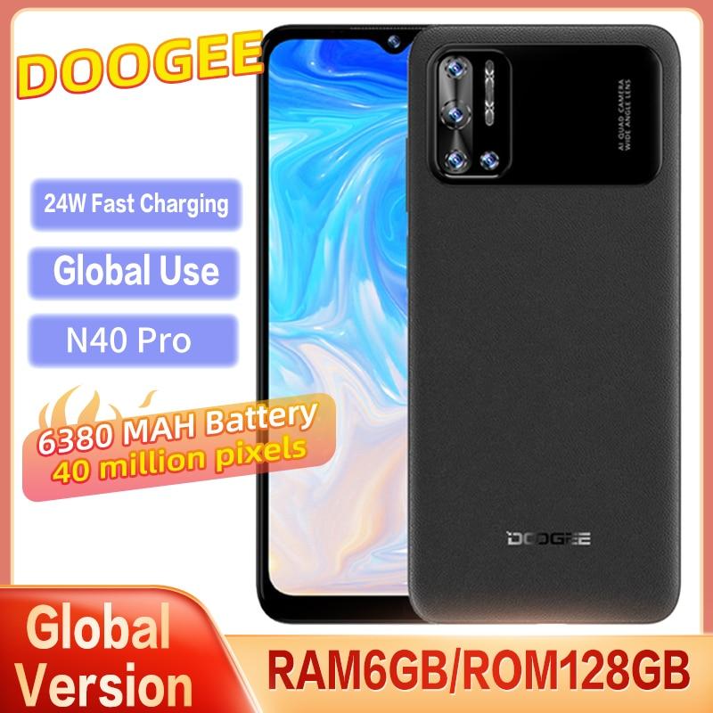 Original Global Version DOOGEE N40 Pro Smartphone 6GB+128GB MTK P60 Eight Core 20MP 4 Camera 6380mAh Battery 6.5