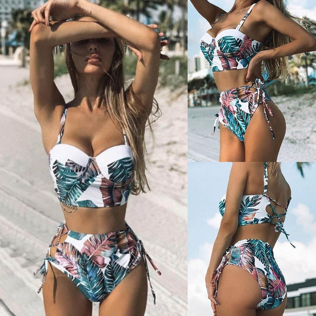 Hoge-Bikini con estampado De hojas para mujer, traje De baño con estampado...