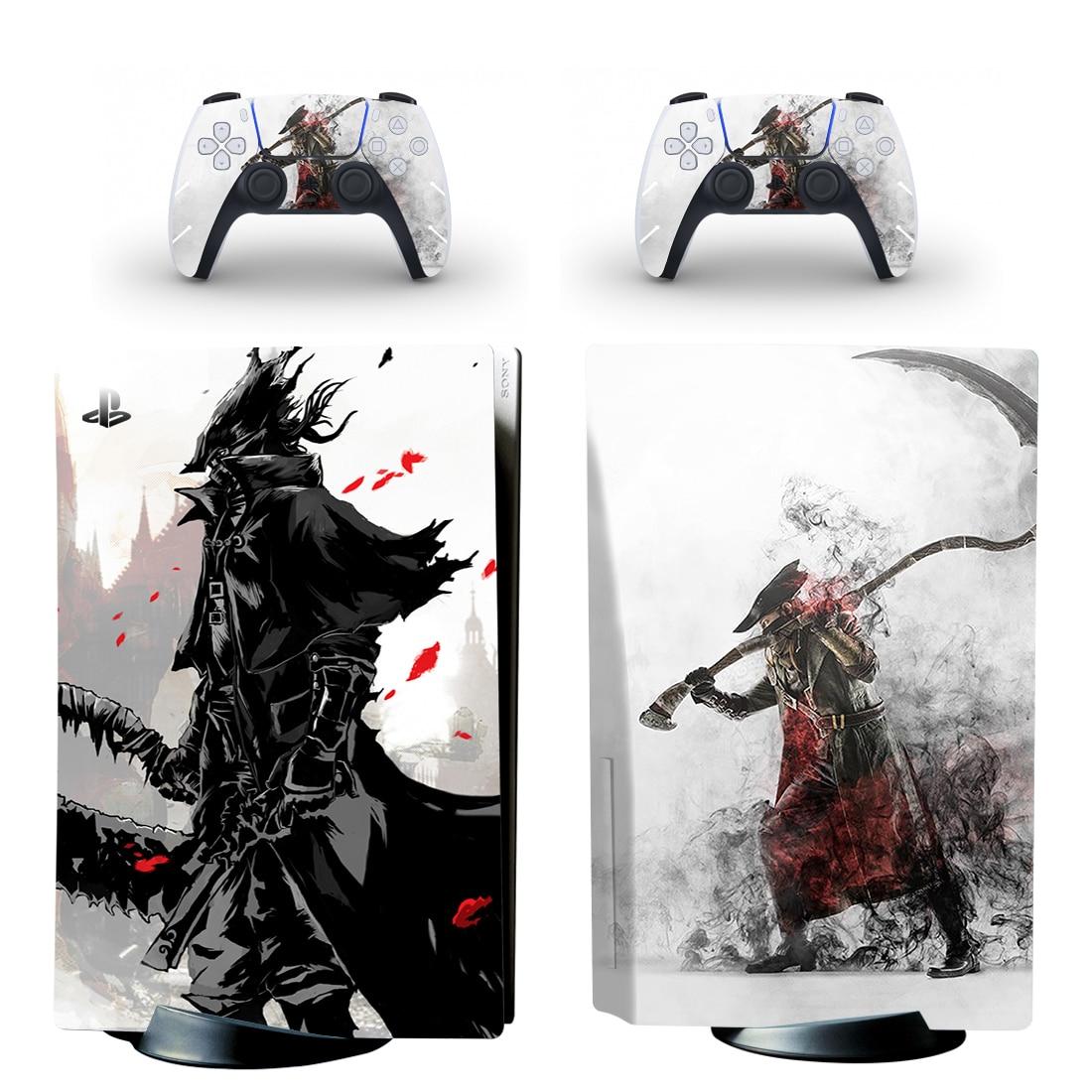 الدم المحمولة PS5 القياسية القرص الجلد ملصق مائي غطاء ل بلاي ستيشن 5 وحدة التحكم وأجهزة التحكم PS5 القرص الجلد الفينيل