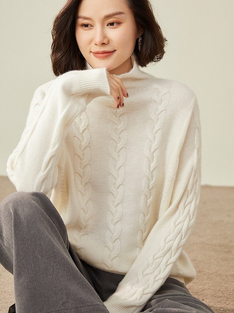Loose Style 100% Goat Cashmere Knitted Jumpers For Women 2021 New Arrival Winter/ Autumn Female High Collar Sweaters enlarge