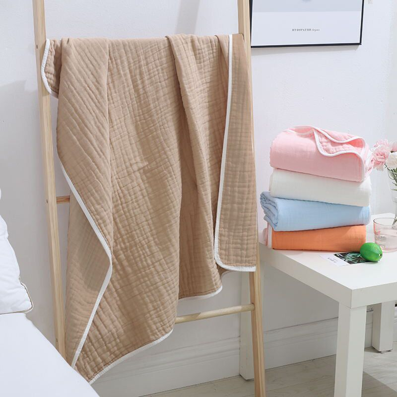 COSPOT Newborn Solid Blanket Bebes Plant Dye 100% Muslin Cotton 6 Layers Gauze Bath Towel Bebe Swaddle Blankets Hold Wrap 45