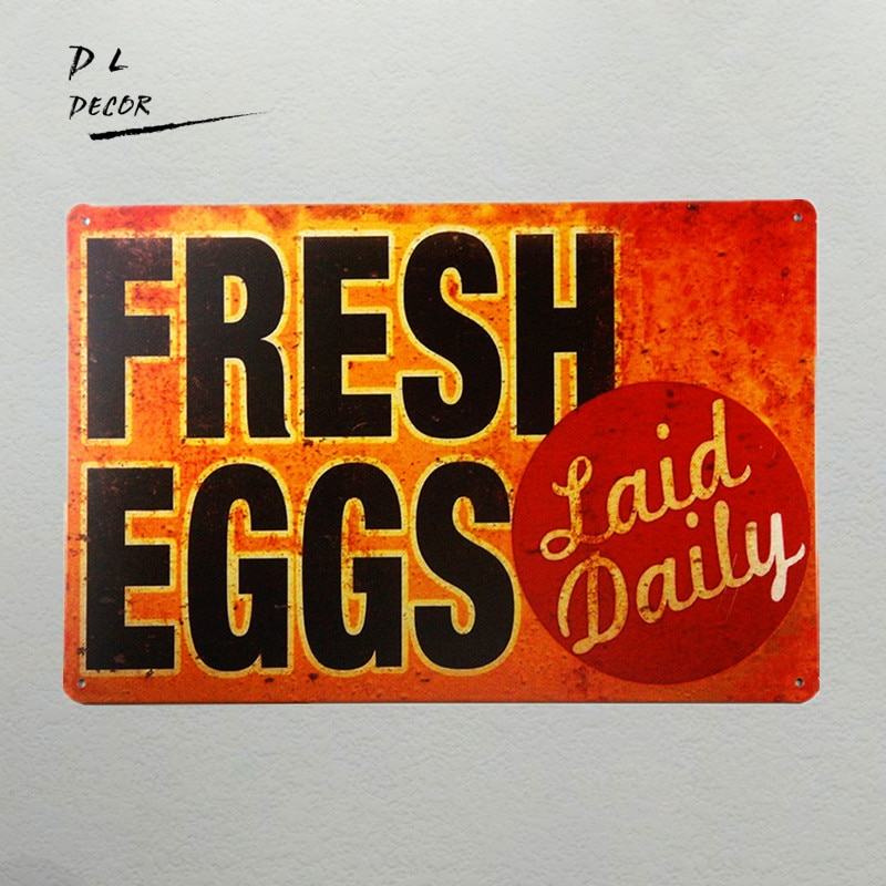 DL-TIN Sign Fresh Eggs LD Metal decoración arte gallinero cocina granja