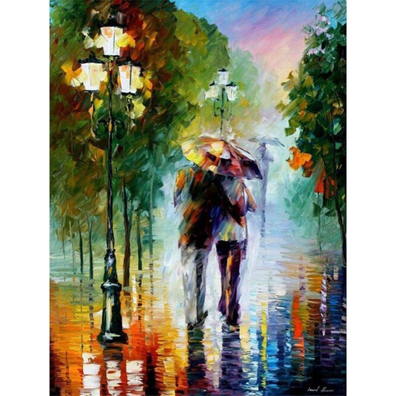 Pintura al óleo por números Digital amantes de la lluvia pintura abstracta moderna cuadro sobre lienzo para pared para Home Docor