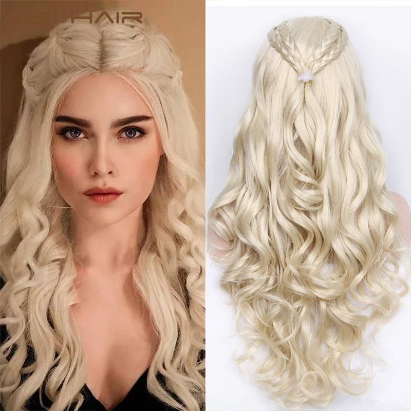 Aisi cabelo sintético perucas longas ondulado loira cinza cosplay perucas para mulheres natural olhando cabelo com alta resistente