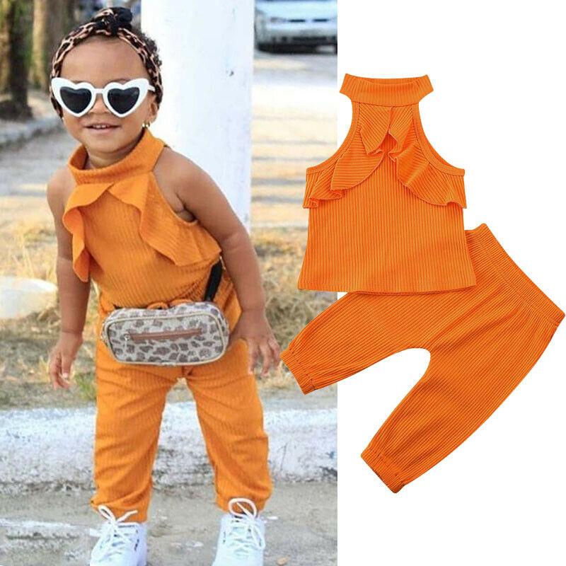 Imcute, moda de primavera otoño para niños pequeños, ropa sólida para niñas, Tops sin mangas + trajes con pantalones largos, conjunto de 2 uds.