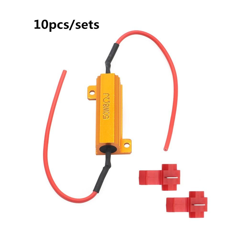 4/10 Pcs 50W 8 ohm LED Load Resistor For Fast Hyper Flash Turn Signal Blink Blinker Fix Bulb
