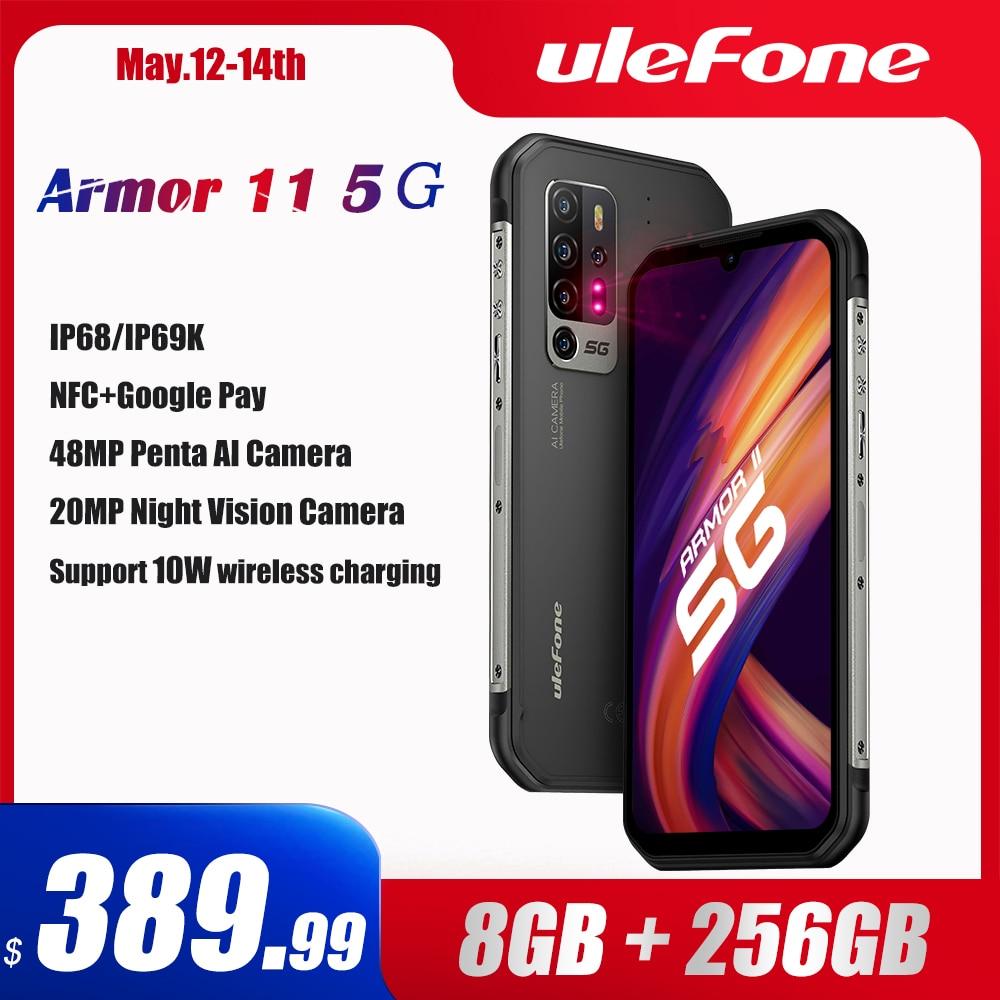 Перейти на Алиэкспресс и купить Ulefone Armor 11 5G прочный мобильный телефон Android 10 8 ГБ + 256 ГБ Водонепроницаемый смартфон 48MP NFC мобильный телефон Беспроводной зарядки