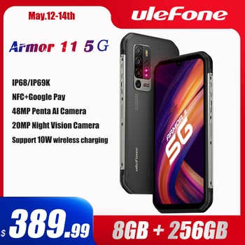 Ulefone Armor 11 5G Rugged Mobile Phone Android 10 8GB +256GB Waterproof Smartphone 48MP NFC Mobile Phone Wireless Charging