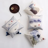 classic chinese imitation silk printing cushion cover model room living room bedroom bay window sofa seat pillow cover