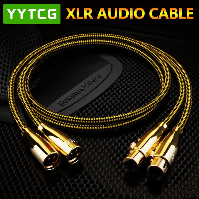 YYTCG Hifi XLR كابل عالية النقاء OCC 2XLR ذكر إلى أنثى كابل للاتصال البيني مع ميكروفون ، الوسائط المتعددة ، الصوت ، أمبير