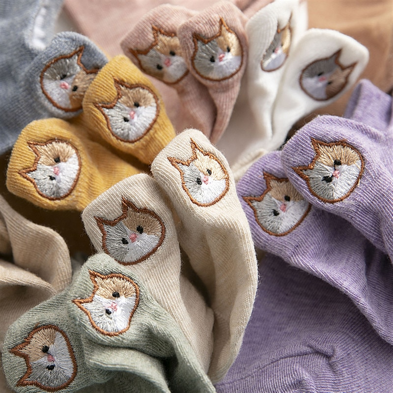 cute cat socks kawaii harajuku women calcetines mujer chaussette femme skarpetki damskie korean style meia japan funny cartoon недорого