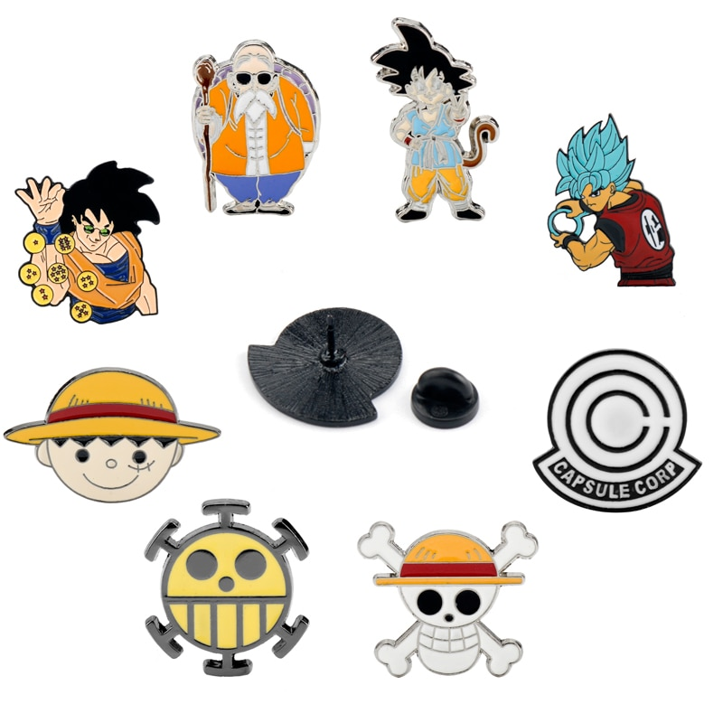 Clásico Anime ONE PIECE Luffy/Dragón Ball Z Sun Goku broche dibujos animados esmaltes pines y broches para Mujeres Hombres Niños Accesorios regalo