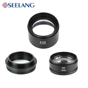 Zoom 0.5X 1X 2X Auxiliary Objective Protective Lens For Stereo Microscope Binocular Trinocular Accessories 48MM Free Shipping