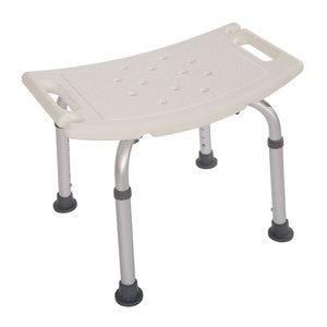 Bath Chair Bathroom Stool Heavy Type Adjustable Aluminum Alloy Old People Shower Chair Bath Chair CST-3011 White[US-W]