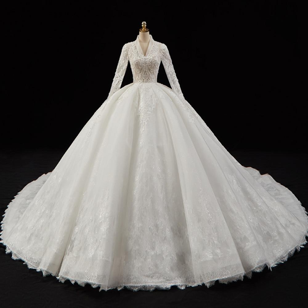 Vestido De Novia De lujo De manga larga con cuello en V, novedad, apliques De perlas De cristal, encaje