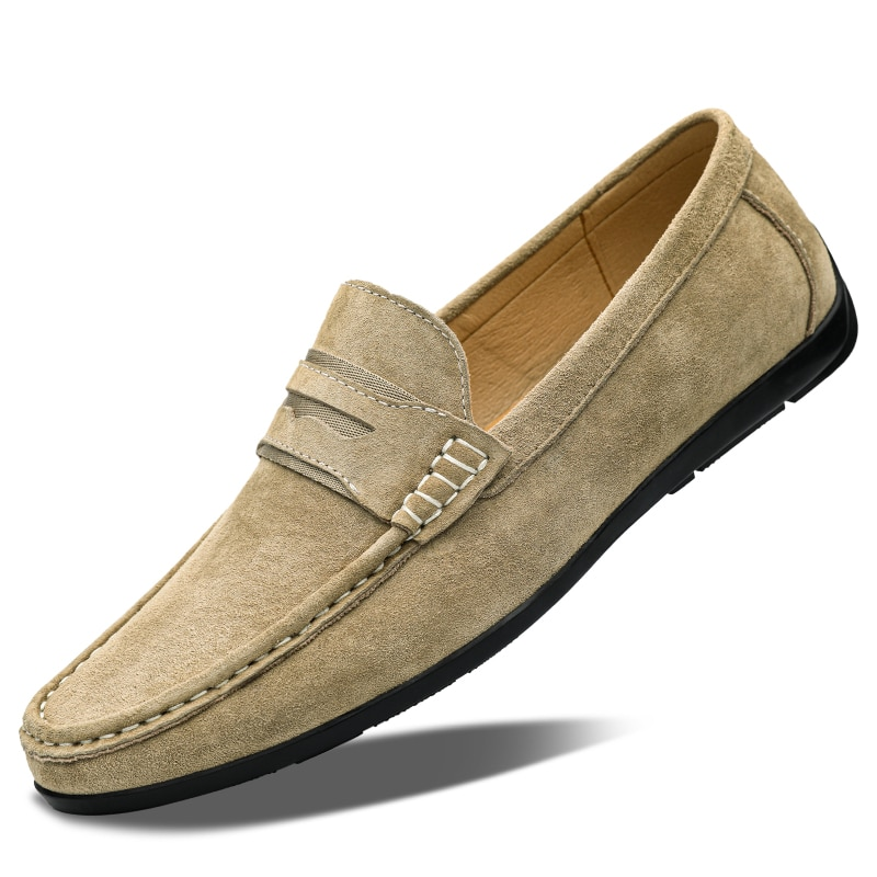 الربيع الصيف جلد الغزال حذاء رجالي مريح حذاء كاجوال مسطح الرجال تنفس الانزلاق على لينة جلد طبيعي أحذية قيادة بدون كعب