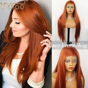 YYsoo long Orange Brown Silky Straight Synthetic 13x4 Lace Front Wigs for Women Glueless Pre Plucked Heat Resistant  Fiber Wig