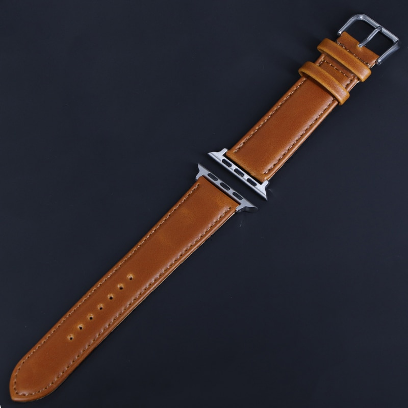 natural genuine leather loop band for apple watch 42mm 38mm women men sport strap for iwatch series 4 3 2 1 40mm 44mm wrist band Brown Leather Band Loop Strap For Apple Watch 4 3 2 1 38mm 40mm , Men Leather Watch Band for iwatch 5 44mm 42mm Bracelet