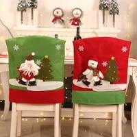 christmas chair cover 3d santa claus snowman elk christmas dinner table back chair xmas home kitchen decorations 124 pcs