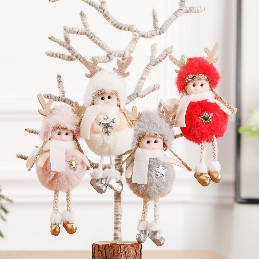 Украшения для рождественской вечеринки, Детские милые Рождественские елки с ангелом в виде перьев, креативная Подвеска для дома, подарки, у...