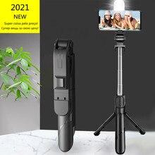 Palo de Selfie inalámbrico con Bluetooth, Mini trípode, monopié extensible con luz de relleno, obturador remoto para IOS y Android Teléfono, novedad de 2021