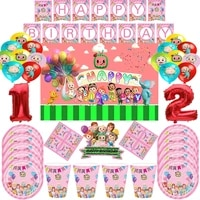 baby shower cute pink cocomelon theme birthday party decorations banners for kids disposable tableware cocomelon party supplies