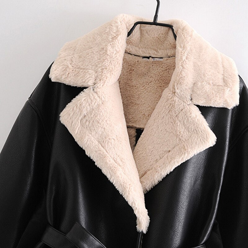 Wixra Womens Coat Jacket Faux Leather Fur Patchwork Overcoats With Belt Streetwear Female Casual PU Outerwears Autumn Spring New enlarge