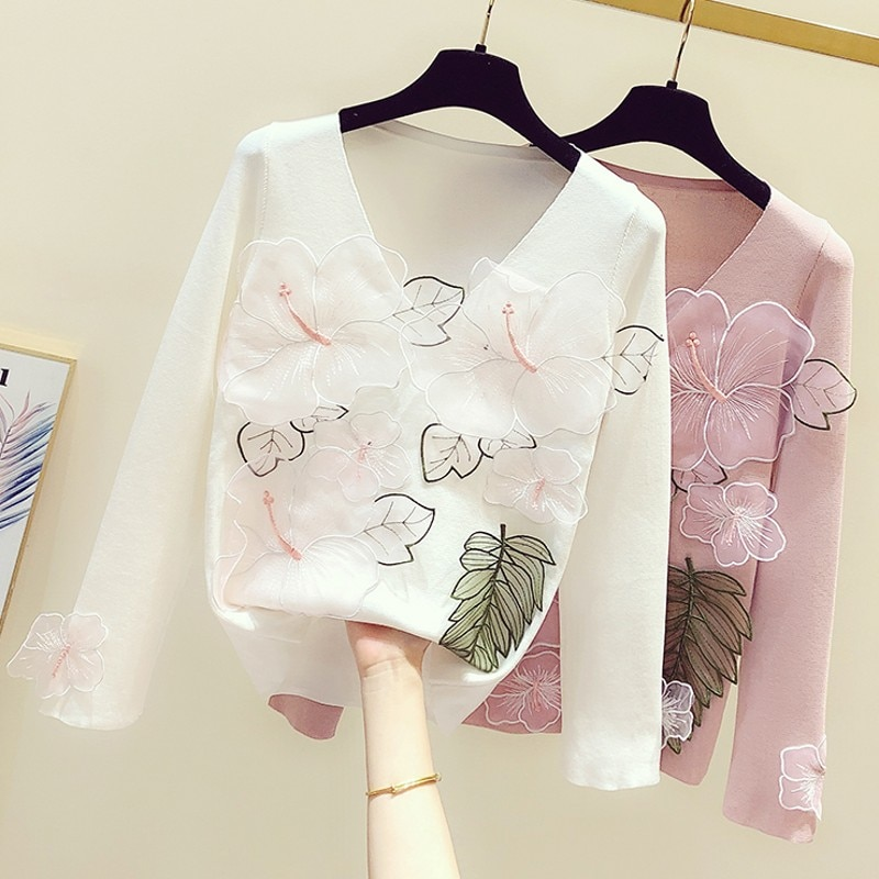 2020 New Spring Autumn Women Knitted Shirts Embroidery Large Flower V-neck Pullovers Top Knit Bottoming Sweaters Casual