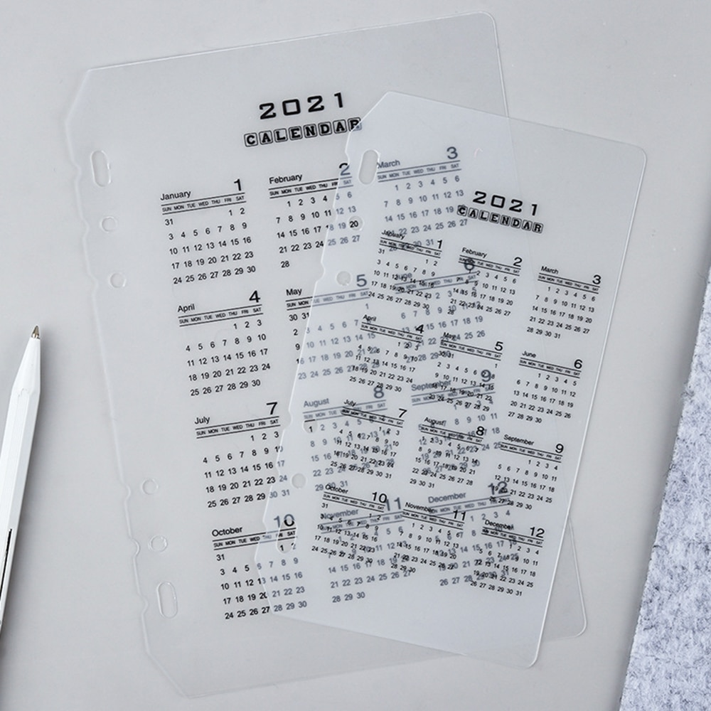 Transparent 2021 Calendar A5 A6 A7 Notebook Transparent Index Divider for 6 Holes Diary Binder Monthly Planner Card