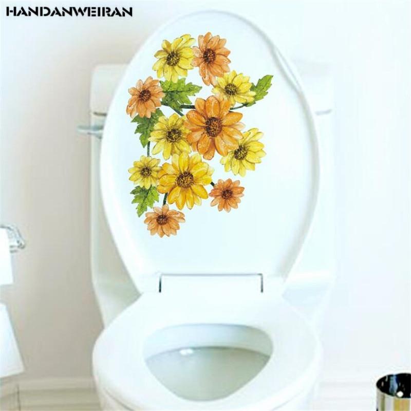 1 Uds. Pegatinas de pared de flores amarillas, pegatinas de baño impermeables, decoración interior de la cubierta del inodoro 28*35 CM