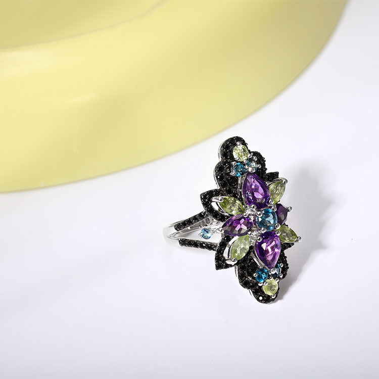 GZ ZONGFA Fashion Natural Blue Topaz Black Spinel Gem 925 Sterling Silver Rings Women Custom Fine Jewelry
