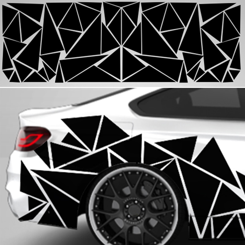 200x60cm Matte Black Car SUV Truck Decoration Stickers Triangle Vinyl Decal Car Styling Accessories High Quality Car Stickers