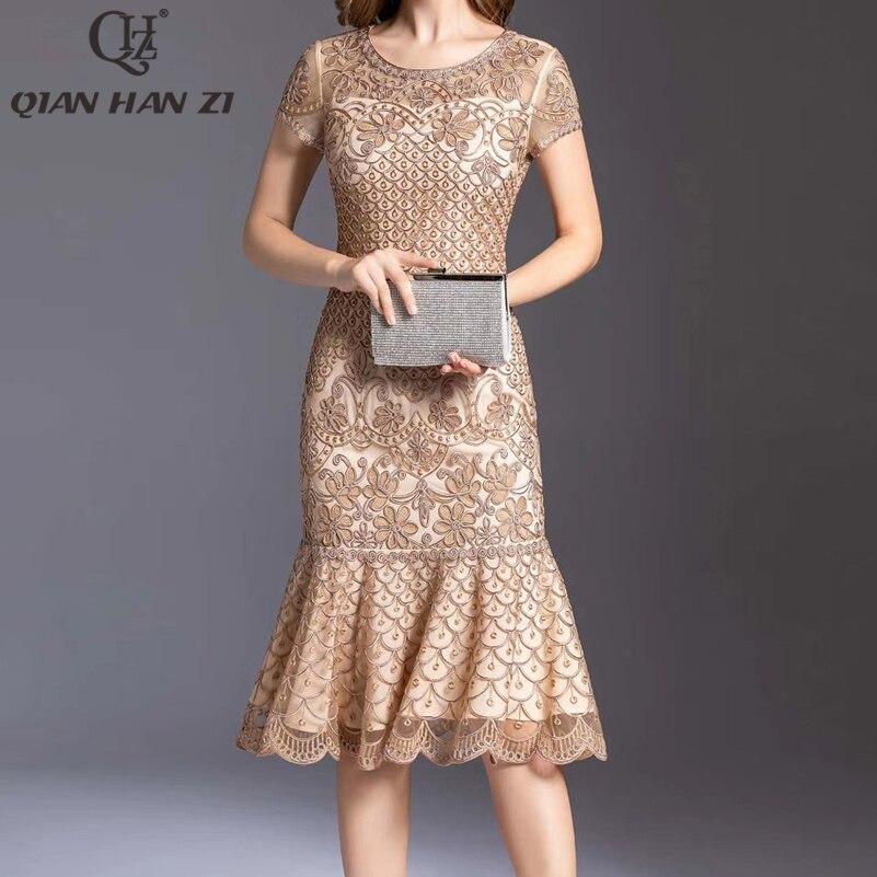 Qian Han Zi-فستان صيفي على شكل حورية البحر ، فستان ضيق مطرز ، بقصة ضيقة ، مع انتفاضات ، للحفلات