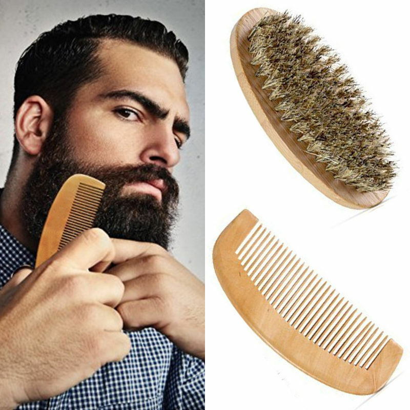 Los hombres barba de cerdas de jabalí cepillo y peine barba Kit barba peine Kit de aseo para hombres barba bigote barba Kit barba peine Kit de aseo