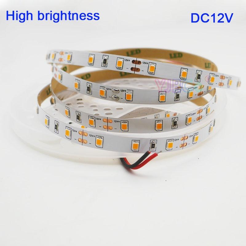 Tira de luces led blanca cálida de 5M PCB 8mm DC12V 2835 SMD 2700K ~ 3200K 60Leds/m IP20 cinta Flexible de luces led de alto brillo