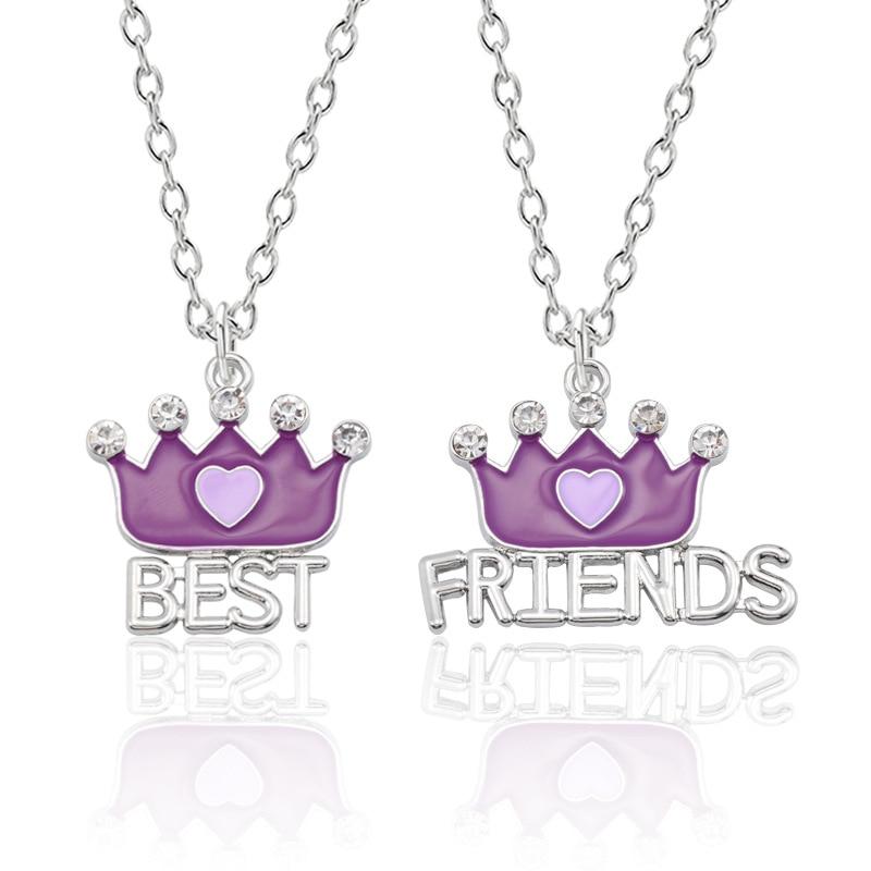 Новый-Корона-ожерелье-лучшие-друзья-для-женщин-фиолетовое-платье-с-украшениями-в-виде-кристаллов-большие-Кулоны-Ожерелья-bff-дружбы-навсегд