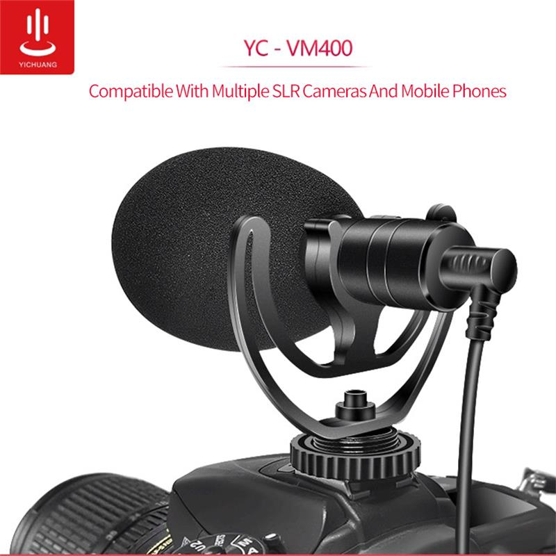 Cardioid Shotgun Microphone 3.5mm Headphone TRS TRRS Recording Microphone for Smartphone Tablets DSLR Consumer Camcorder