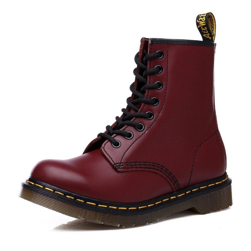 2020 unissex botas de couro genuíno das mulheres botas de tornozelo sapatos martin inverno rendas até botas de pele casual locomotiva bota de trabalho