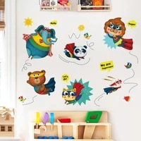 cartoon animal wall stickers kids room decoration decals for furniture wallstickers bedroom wall decor self adhesive wallpaper